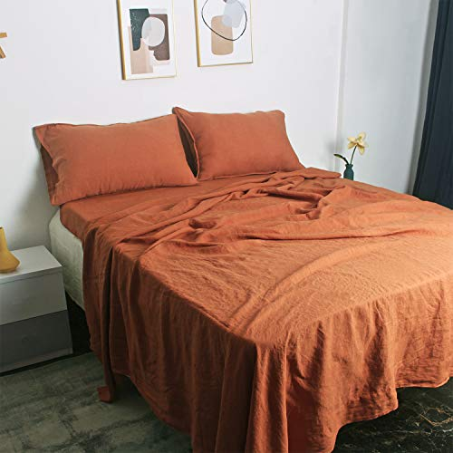 100% French Natural Linen Bedding S VICTORY SYMBOL Ultra Soft Durable Luxurious Stone Washed 4 Pieces Sheets Set(Caramel,Queen)