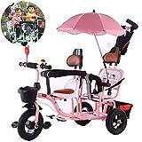 FLy Triciclo De Pedales para Niños Al Aire Libre Triciclo Gemelos Asiento Doble con Cesta Toldo Extraíble, con Asa De Empuje Desmontable para Regalo De Cumpleaños para Niños De 1 A 6 Años,Rosado