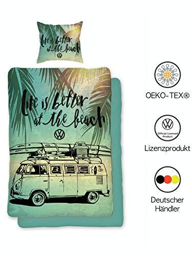Bettwäsche VW Bulli 135x200 cm 80x80 Kissenbezug | VW Bus Wende-Bettwäsche-Set | VW Geschenke für Männer| Öko-Tex Standard 100 | Deutsche Standardgröße