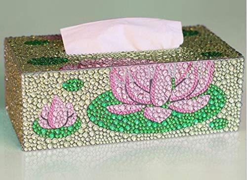 AMPLUCK Pintura de diamantes Caja de pañuelos tridimensional arte cosmético dispensador de pañuelos de bricolaje niños rompecabezas de dibujos animados decoración del hogar, 23 x 12 x 8 cm