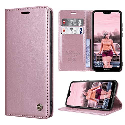 RuiPower per Cover Huawei P20 Lite Pelle, Custodia Huawei P20 Lite Portafoglio Flip Caso con TPU Antiurto Supporto Stand Magnetica Cover per Huawei P20 Lite - Oro Rosa