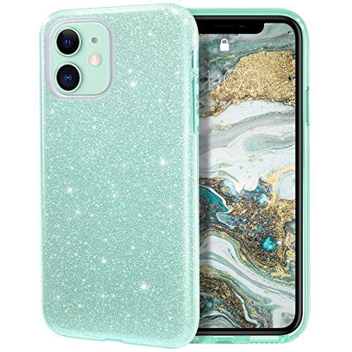 MILPROX Cover iPhone 11 Glitter Shiny Bling Slim Crystal Clear TPU Bling Glitter Paper Frosted PC Shell Protettiva Custodia per iPhone 11 6.1 Verde