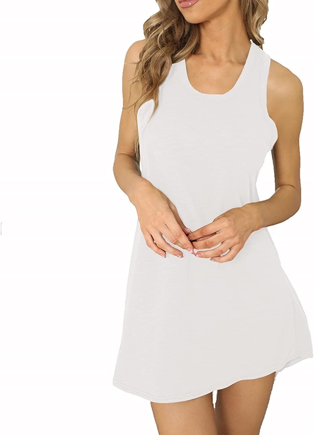Nightgown for Women Sleepwear Sleeveless Award Cotton Nightdress Plain Limited time for free shipping