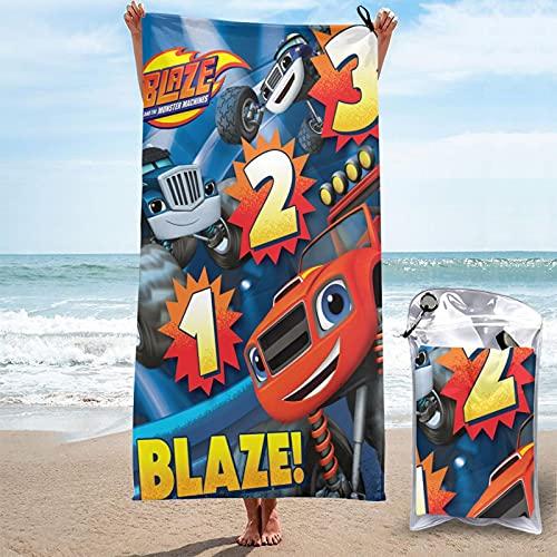 Blaze y Las máquinas Monstruo Toalla de Playa de Microfibra, Toalla de Piscina Esterilla de Yoga, Seque Rápidamente, Absorbente,Prevención de Arena para Viaje, Picnic 140x70cm
