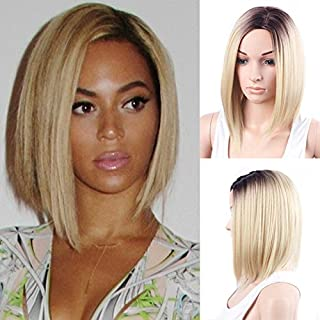 Meisi Hair - Peluca de longitud corta/media, pelo sintético, resistente al calor, sedoso, recto, raíces oscuras, ombré rubio claro, corte Bob