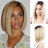 Meisi Hair, elegante parrucca sintetica da donna, resistente al calore, lunghezza corta/media, capelli lisci e setosi, radici scure capelli biondi con riflessi dorati, parrucca bobo, come capelli veri