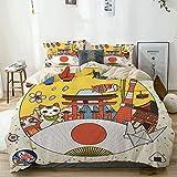 JOSENI Parure de lit,Beige,Conception d'affiche de Tourisme au Japon colorée avec la Conception d'éléments culturels,1 Housse...