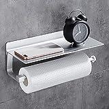 Wopeite Küchenrollenhalter ohne Bohren Rollenhalter Selbstklebend Wandrollenhalter für Küchenkrepp Papierrollenhalter Aluminium Matte Finish Silber