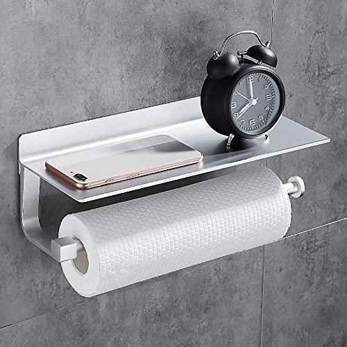 Wopeite Dispenser Di Carta Da Cucina Carta Igienica Porta Asciugamani Con Scomparto Per Telefoni Cellulari, Nessuna Foratura Auto Adesivo