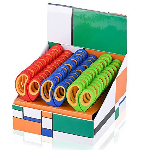 Saxhorn Kids Scissors 5'(School Teacher Bulk Classroom Pack, 5 Inch)- Soft Touch Pointed School Student Scissors, Blunt, Assorted Colors (36)