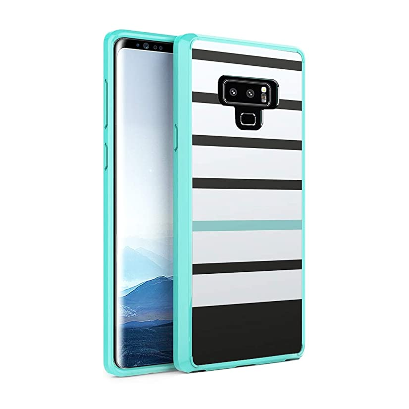 Capsule Case Compatible with Galaxy Note 9 [Hybrid Slim Hard Back Shield Case with Fused TPU Edge Bumper Protective Mint Green Case] for Samsung Galaxy Note 9 - (Black Mint Stripe)