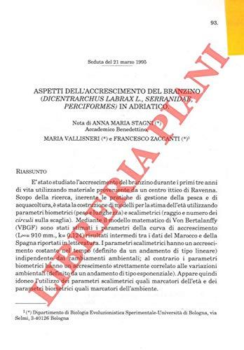 Aspetti dell'accrescimento del branzino (Dicentrarchus labrax L. , Serranidae, Perciformes) in Adriatico.
