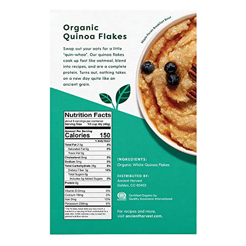 Ancient Harvest Organic Gluten-Free Quinoa Flakes, 12 Ounce Box, A Natural Substitution to Oatmeal or Cereals