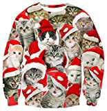 Unisex Ugly Christmas Sweater Cool Cat Red Santa Hat Print Crewneck Long Sleeve Shirt Pullover for 80's 90's Youth Girls Boys Funny Sweatshirt for Women Men XXL 2XL