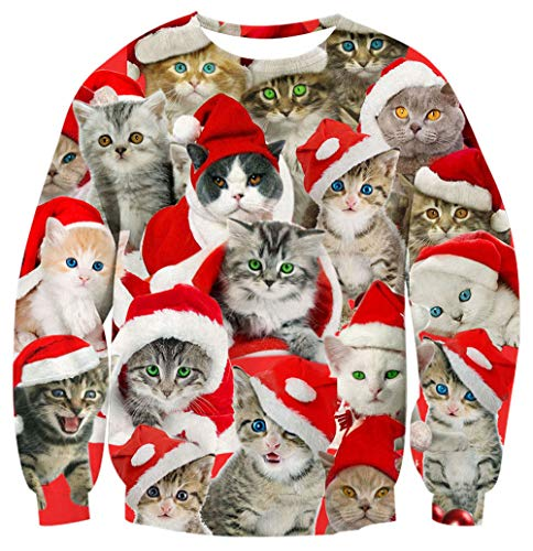 Unisex Ugly Christmas Sweater Cat in Space Unique Design Tops Coat Hipster Stylish Sweatshirt Crew Neck Fancy Xmas Party Pullover for Female Bro Jumper Clothing XL