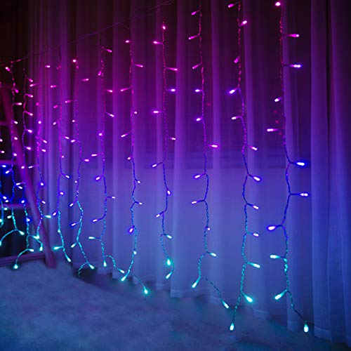 Bolylight Bedroom String Lights Girls Room Decor Curtain Lights Ombre Fairy Wall String Lights 192L LED for Bunk Beds Ceiling Indoor Wedding Party Christmas Multicolor