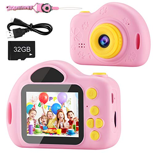 AIMASON Kids Camera, Digital Video Camera for Kids with 32GB SD Card Children Camera Birthday/Christmas/New Year Gifts Toy for 3 4 5 6 7 8 9 10 Year Old