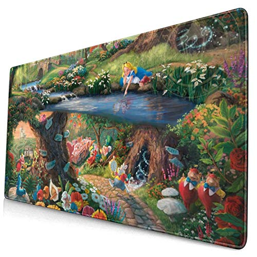 GPerlaAlva Alice in Wonderland Mouse Pad Home Office Computer Gaming Mouse Pad Suitable for Work, Game, Office, Home One Size 15.8x29.5 in
