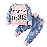 Ropa de Otoño para Niña Recién Nacida Trajes Florales Jersey de Manga Larga Sudadera Pantalones con Lazo Conjunto de Chándales para Bebé Niña Pequeña