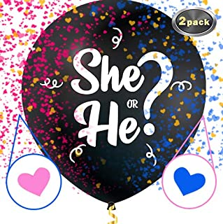 GenderSense Jumbo 36 Inch Baby Gender Reveal Balloon | Big Black Balloons with Pink and Blue Heart Shape Confetti Packs for Boy or Girl | Baby Shower Gender Reveal Party Supplies Decoration Kit