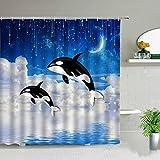LQHUS DuschvorhangKinder Shark Fish Cartoon wasserdichte Duschvorhänge, Home Badezimmer Dekorativer Stoff Vorhang Set