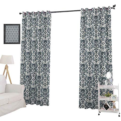 YUAZHOQI Skull Blackout curtainsBaroque Skulls in Floral Ornament Pattern Scary Artistic Victorian Print Curtains for French Doors 52' x 95', Charcoal Grey and White