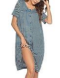 Ekouaer Women Nightgown Short Sleeves Sleepwear Button Front Nightwear Round Neck Striped Sleep Shirt PJ Dress (Peacock Blue M)