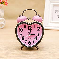 RPLW Small Analog Twin Bell Alarm Clock,Heart-Shaped Alarm Clocks for Bedrooms,Cute No Ticking Twin Bell with Backlight Alarm Clock for Teens Pink 9.2x5.2x12.6cm