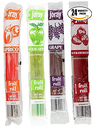 Joray Fruit Roll Variety Pack. Apricot, Strawberry, Sour Apple, Grape, 1 oz Fruit Leather (Total of 24 Fruit Rolls)