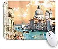 ZOMOY マウスパッド 個性的 おしゃれ 柔軟 かわいい ゴム製裏面 ゲーミングマウスパッド PC ノートパソコン オフィス用 デスクマット 滑り止め 耐久性が良い おもしろいパターン (ヴェネツィアのヨーロッパの大運河イタリアの歴史的なヨーロッパの街並みタウンタワー自由奔放に生きる)