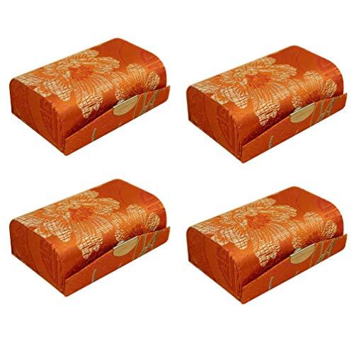 Cabilock Lot de 4 étuis à rouge à lèvres avec tissu miroir brodé (couleur aléatoire)