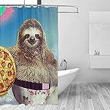 Badewannenvorhang Duschvorhänge Faultier Pizza Einhorn Bad Gardinen Bad-Set Mit Haken Startseite Bad Wasserdicht Badewanne Fenster Zubehör
