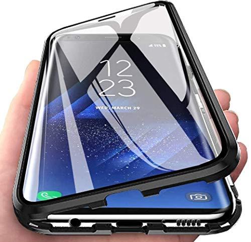 Funda para Huawei P30 Lite Magnetica Case, Adsorption Carcasa 360 Grados Frente y Parte Posterior Cuerpo Completo Transparente Vidrio Templado Protección Metal Choque Cover Case - Negro