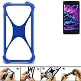 K-S-Trade® Handyhülle Für Medion Life E5005 Silikon Schutz Hülle Cover Case Bumper Silikoncase TPU Softcase Schutzhülle Smartphone Stoßschutz, Blau (1x),