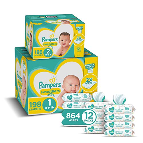 Pampers Baby Diapers and Wipes Starter Kit (2 Month Supply) - Swaddlers Disposable Baby Diapers Sizes 1 (198 Count)  California
