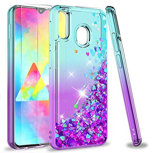 LeYi Compatible con Funda Samsung Galaxy M20 M 20 Silicona Purpurina Carcasa con [2-Unidades Cristal Vidrio Templado],Transparente Cristal Bumper TPU Gel Case Cover para Movil Samsung M20 Púrpura