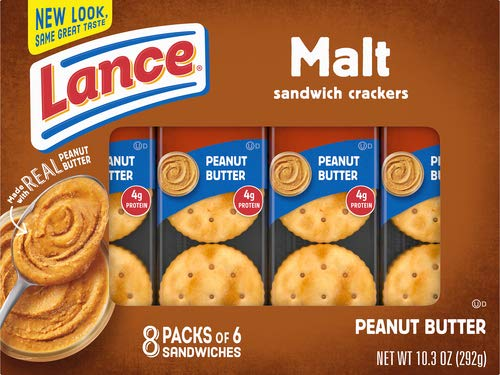 Lance Malt Crackers With Real Peanut Butter Sandwich, 10.3 oz