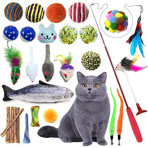 Juguetes Para Gatos 28 Piezas, PietyPet Juguete Interactivo Varita Retráctil con Gatos Ratón, Bolas Campanas, Plumas Cabezas de Repuesto Catnip Ball Juguetes Gatos para Kitty Mascota Gato Juguetes
