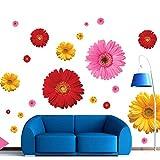 TAOYUE Margarita de color Pegatinas de pared para dormitorio Sala de estar TV Sofá Fondo Decoración para el hogar Pegatina extraíble