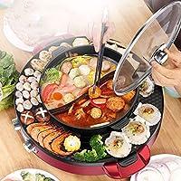グリル鍋付き韓国鍋、電気グリル屋内鍋多機能ノンスティックOurdoor韓国バーベキュー無煙、仕切り付きしゃぶしゃぶ鍋-個別のデュアル温度コントロール、スプリットポット