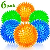 Squeaky Balls for Dogs Small, Fetch Balls for Dogs Rubber 6 Pack Bright Colors TPR Puppy Toys Dog Toy Balls Dog Squeaky Toys Spike Ball Dog Chew Toys for Small Dogs Pet Toys for Puppy Teething Toys