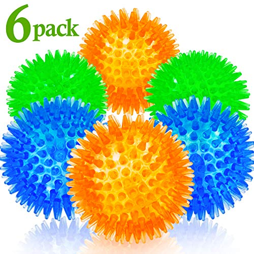 Squeaky Balls for Dogs Small, Fetch Balls for Dogs Rubber 6 Pack Bright Colors TPR Dog Toy Balls Dog Squeaky Toys Spike Ball Dog Chew Toys for Small Dogs Puppy Teething Toys