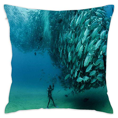 Sardines Fish Underwater Diver Cabo Pulmo National Park Mexico Cotton Throw Pillow with for Bed Sofa Cushion Pillowcases