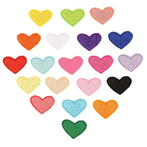 Healifty Lot de 20 patchs thermocollants pour jeans et vêtements Motif cœur Couleur aléatoire