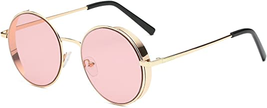 Unisex Classic Round Circle Frame Sunglasses Unique Steampunk Lens Retro Metal Frame Colored Lens Uv Protection Outdoor Protection Vintage Women Men Sport Sunglasses 2019 Summer New Style