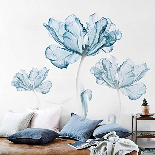 ASDFGH Wandtattoo Blume Wandtattoo für Wohnzimmer, Wandsticker Dekor Aufkleber Botanische drucke Wandbilder-wohnkultur Kunst-Dekoration Für Schlafzimmer-Blau
