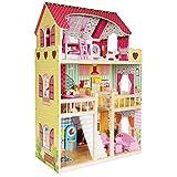 boppi® Casa De Muñecas De Madera para Niñas 3 Pisos Y 17 Accesorios/Muebles para Jugar