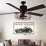 Bella Depot 42' Retro Industrial Ceiling Fan Light, Remote Control & Pull Chains, 5 Wood Reversible Blades, Black Cage Ceiling fan for Living Room/Bedroom/Restaurant etc.