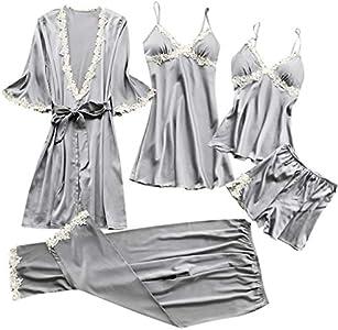 Proumy Conjunto de Pijamas Mujer Baratas 5 Piezas Kimono Larga Pijama de Encaje Verano Batas con Calzoncillos Cortos Ropa de Dormir con Pantalones Largos Traje Talla Grande Lencería Erótica Gris