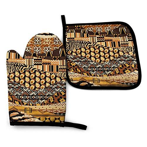Patchwork Küchenofenhandschuhe und Topflappen im afrikanischen Stil zu Ostern 2er-Set, beständige heiße Pads mit rutschfesten Grillhandschuhen aus Polyester für Küche, Kochen, Backen